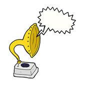 Cartoon phonograph with speech bubble — Stock Vector