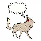 Cartoon snapping wolf with speech bubble — Stock Vector