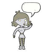 Cartoon robot woman waving with speech bubble — Vector de stock