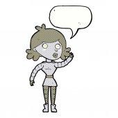 Cartoon robot woman waving with speech bubble — Stock Vector