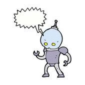 Cartoon alien robot with speech bubble — Stock Vector