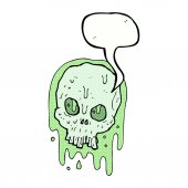 Cartoon slimy skull with speech bubble — Stock Vector