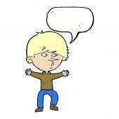 Cartoon suspicious man with speech bubble — 图库矢量图片