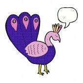 Cartoon peacock with speech bubble — Stock Vector
