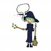 Cartoon witch casting spell with speech bubble — Stock Vector