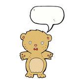 Frightened teddy bear cartoon with speech bubble — Stock Vector