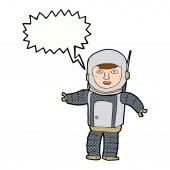 Cartoon-Astronaut mit Sprechblase — Stockvektor