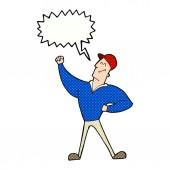 Cartoon man striking heroic pose with speech bubble — Stock Vector