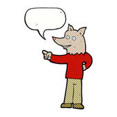 Cartoon wolf man pointing with speech bubble — Stock Vector