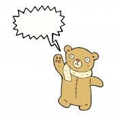 Cute cartoon teddy bear with speech bubble — Stock Vector