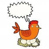 Cartoon hen on eggs with speech bubble — Stock Vector