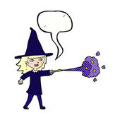 Cartoon witch girl casting spell with speech bubble — Stock Vector