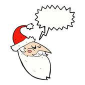 Cartoon santa face with speech bubble — Stock Vector