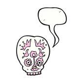 Cartoon sugar skull with speech bubble — Vector de stock
