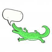Cartoon crocodile with speech bubble — Stock Vector