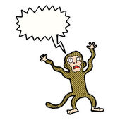 Cartoon frightened monkey with speech bubble — Stock Vector