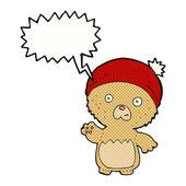Cartoon cute teddy bear in hat with speech bubble — Vector de stock