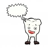 Cartoon tooth with speech bubble — Vettoriale Stock