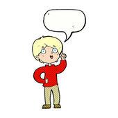Cartoon boy with idea with speech bubble — Vector de stock