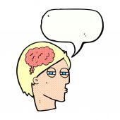 Cartoon man thinking carefully with speech bubble — Stock Vector