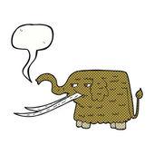 Cartoon woolly mammoth with speech bubble — Stock Vector