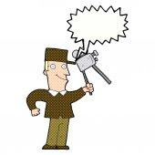 Cartoon film maker with speech bubble — Vector de stock