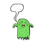 Cartoon slimy ghost with speech bubble — Stock Vector