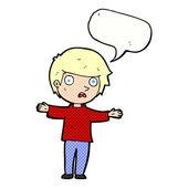 Cartoon worried boy with speech bubble — Stock vektor