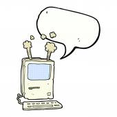 Cartoon old computer with speech bubble — Vettoriale Stock