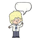 Cartoon school boy with idea with speech bubble — Stock Vector