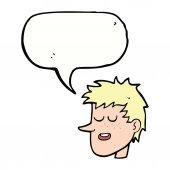 Cartoon happy boy face with speech bubble — Stock Vector