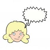 Cartoon happy kvinnliga ansikte med pratbubblan — Stockvektor