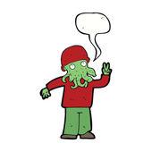 Cartoon cool alien with speech bubble — Stock Vector