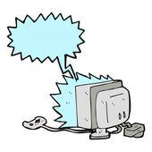 Cartoon computer game with speech bubble — Stock Vector