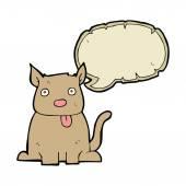 漫画の吹き出しの舌を突き出て犬 — ストックベクタ