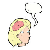 Cartoon female head with brain symbol with speech bubble — Stock Vector