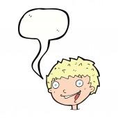 Cartoon laughing boy with speech bubble — Stock Vector