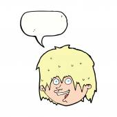 Cartoon happy man with speech bubble — Stock Vector