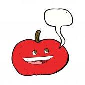 Cartoon happy apple with speech bubble — Stock Vector