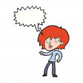 Cartoon surprised woman pointing with speech bubble — 图库矢量图片