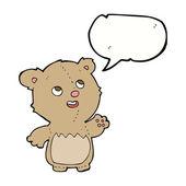 Cartoon gelukkig weinig teddybeer met tekstballon — Stockvector