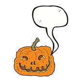 Cartoon pumpkin with speech bubble — Stock Vector