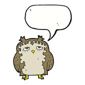 Cartoon wise old owl with speech bubble — Stock Vector