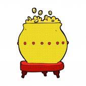 Comic cartoon pot of gold — Stock Vector