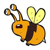 Comic cartoon frightened bee — Stock Vector