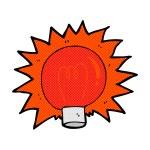 Comic cartoon flashing red light bulb — Stock Vector #73595259