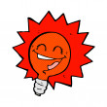 Happy flashing red light bulb comic cartoon — Stock Vector #73595805