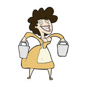Comic cartoon milkmaid carrying buckets — Stock Vector