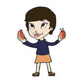 Comic cartoon woman eating hotdogs — Stock Vector