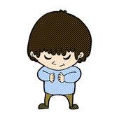 Comic cartoon shy boy — ストックベクタ